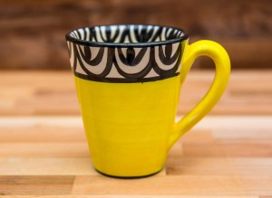 Aztec large tapered mug in yellow