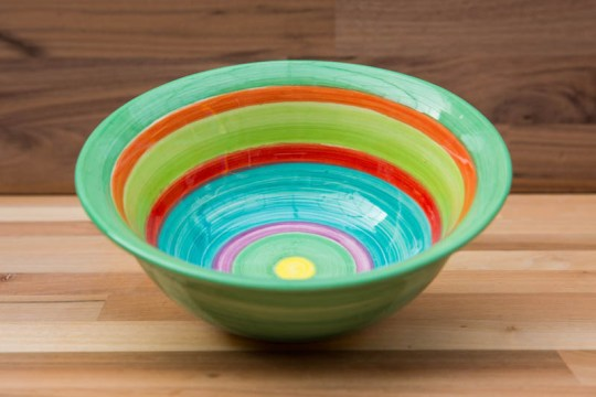 horizontal stripey cereal bowl in green