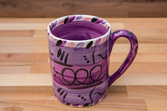 Abstract parallel pint mug in purple