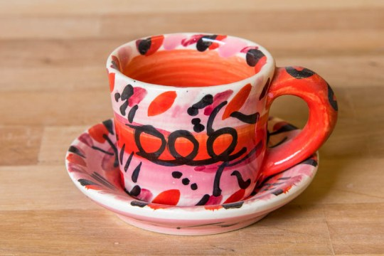 Abstract espresso cup and saucer in Red