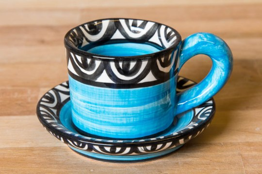 Aztec espresso cup and saucer in Bright Blue