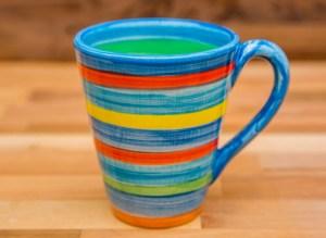 horizontal stripey large tapered mug in blue