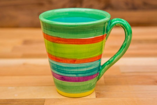 horizontal stripey large tapered mug in green