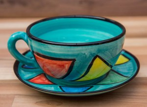 Carnival cup and saucer in Sea Green