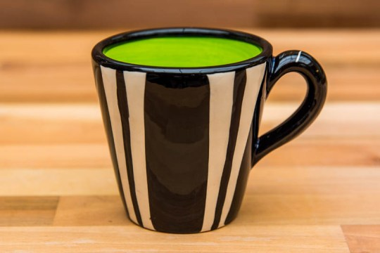 Black and White small tapered mug in Broad Stripe