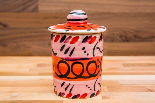 Abstract tea caddy in red