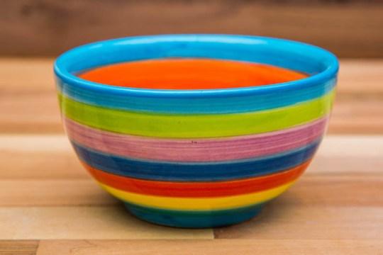 Horizontal Stripey sugar bowl in candy