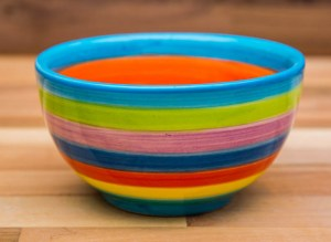 Horizontal Stripey sugar bowl in candy