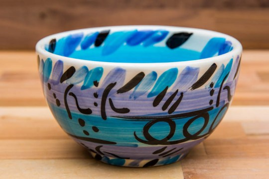 Abstract sugar bowl in blue