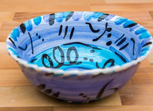 Abstract cereal bowl in blue