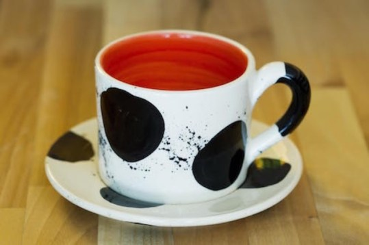 Black and white small cup and saucer in Spot