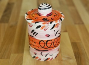 Abstract storage jar in red Reckless Designs