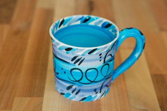 Abstract small parallel mug in blue