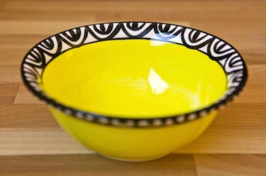 Aztec cereal bowl in yellow