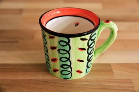 Vertical stripey wide mug in green