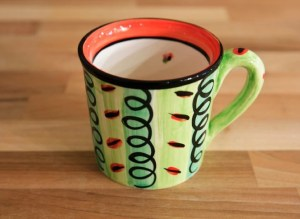 Vertical stripey wide mug in green