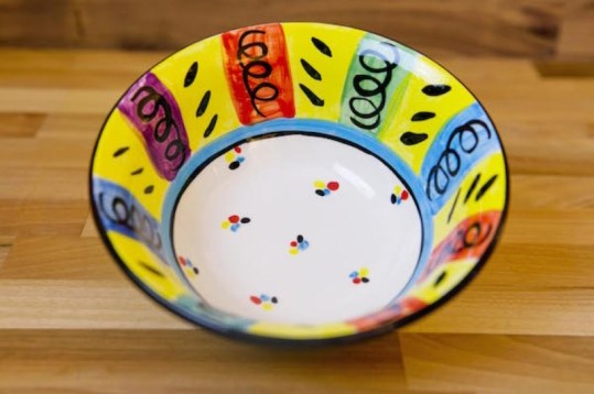Vertical stripey cereal bowl in multi