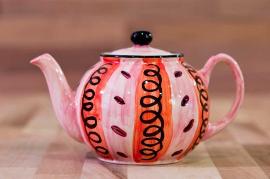 Vertical Stripey mini teapot in Red