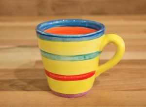 Horizontal Stripey small tapered mug in yellow