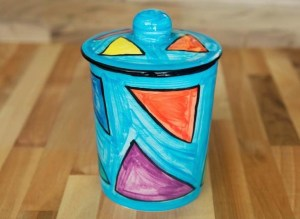 Carnival storage jar in pale blue