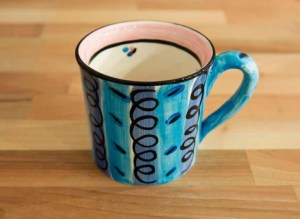 Vertical Stripey wide mug in blue