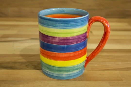 Horizontal Stripey parallel pint mug in candy