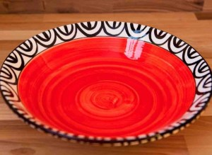Aztec salad/fruit bowl in red