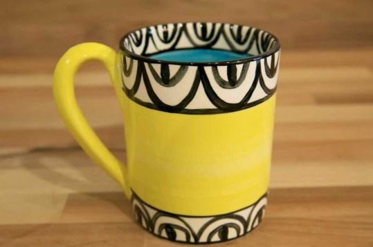Aztec parallel pint mug in yellow