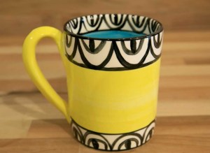 Aztec parallel pint mug in yellow