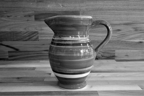 Black and White medium jug in Broad Stripe
