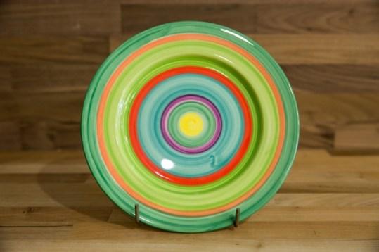 Horizontal Stripey 11″ dinner plate in green