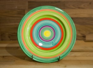 Horizontal Stripey 11″ dinner plate in green