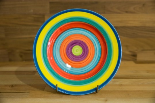 Horizontal Stripey 11″ dinner plate in candy