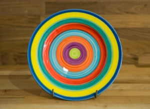 Horizontal Stripey 8″ side plate in candy