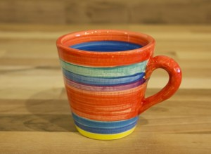 Horizontal Stripey small tapered mug in red