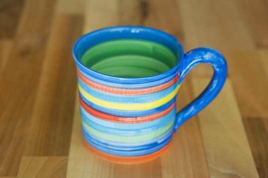 Horizontal Stripey small parallel mug in Blue