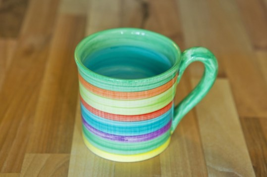 Horizontal stripey wide parallel mug in green