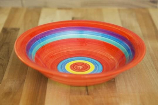 Horizontal stripey pasta bowl in red