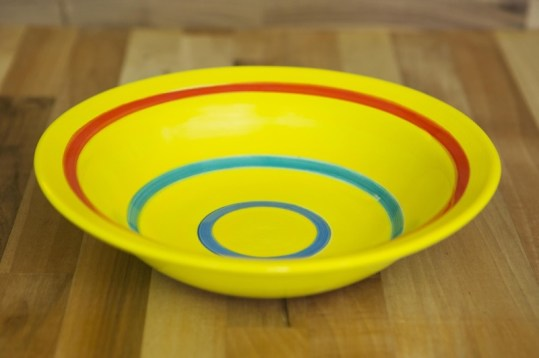 Horizontal stripey pasta bowl in yellow