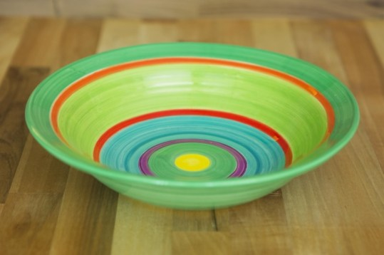 Horizontal stripey pasta bowl in green
