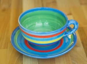 horizontal stripey cup and saucer in blue