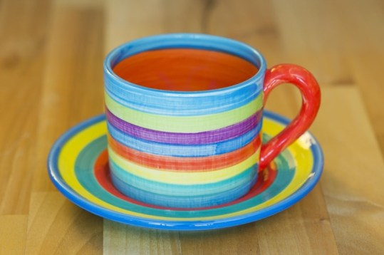 Horizontal stripey small cup and saucer in candy