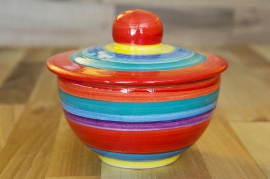 Horizontal Stripey lidded bowl in Red