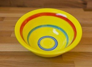 horizontal stripey cereal bowl in yellow