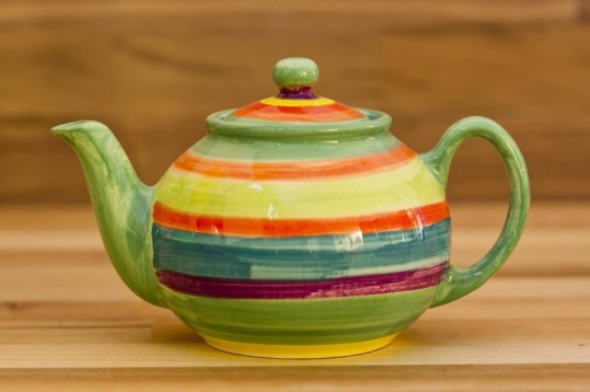 Horizontal Stripey small teapot in Green