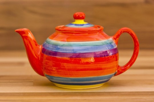 Horizontal Stripey small teapot in Red