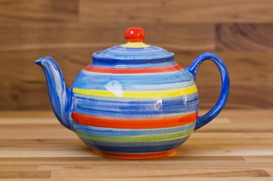 Horizontal Stripey large Teapot in Blue