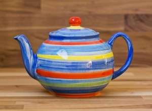 Horizontal Stripey small teapot in Blue