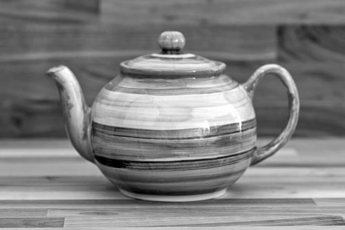 Abstract medium teapot in green