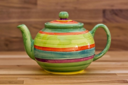 Horizontal Stripey mini teapot in green